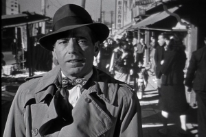 Bogie in front of a not-so convincing rear projection