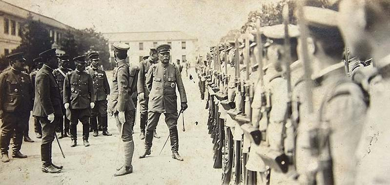 General Ugaki reviewing troops